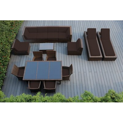 Ohana 16 Piece Seating Dining and Chaise Lounge Set Fabric: Sunbrella Bay Brown, Finish: Mixed Brown