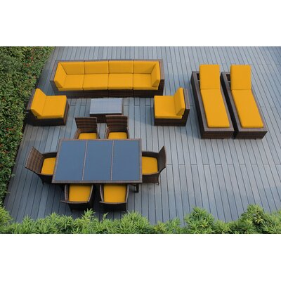 Ohana 16 Piece Seating Dining and Chaise Lounge Set Fabric: Sunbrella Sunflower Yellow, Finish: Mixed Brown