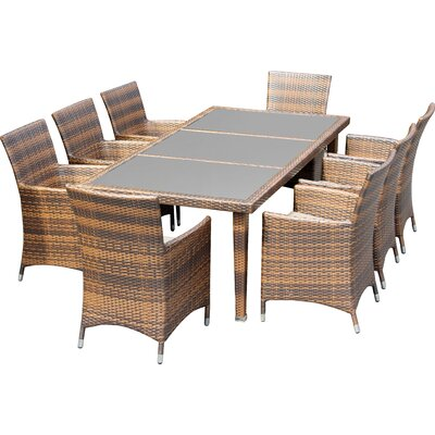Ohana 9 Piece Dining Set with Cushions Fabric: Red