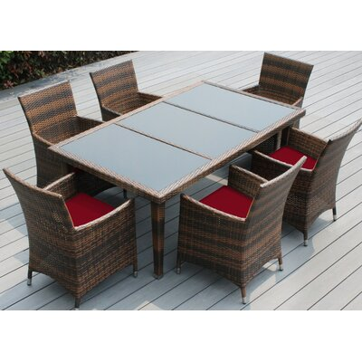 Ohana 7 Piece Dining Set with Cushions Fabric: Red