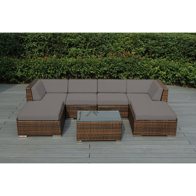 Kiara 7 Piece Deep Seating Group with Cushions Fabric: Sunbrella Taupe, Finish: Mixed Brown