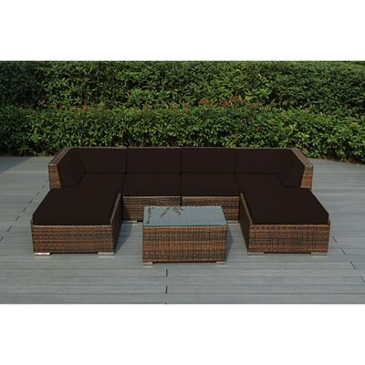Kiara 7 Piece Deep Seating Group with Cushions Fabric: Sunbrella Bay Brown, Finish: Mixed Brown