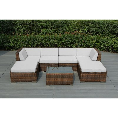 Kiara 7 Piece Deep Seating Group with Cushions Fabric: Sunbrella Natural, Finish: Mixed Brown