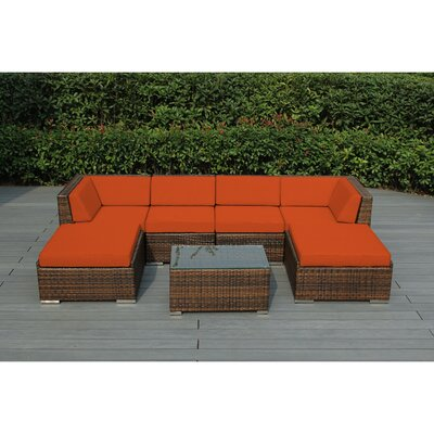 Kiara 7 Piece Deep Seating Group with Cushions Fabric: Sunbrella Tuscan, Finish: Mixed Brown