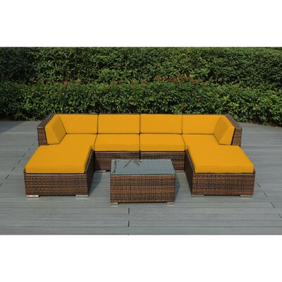Kiara 7 Piece Deep Seating Group with Cushions Fabric: Sunbrella Sunflower Yellow, Finish: Mixed Brown
