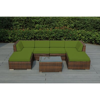 Kiara 7 Piece Deep Seating Group with Cushions Fabric: Sunbrella Macaw, Finish: Mixed Brown