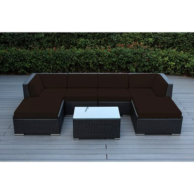 Kiara 7 Piece Deep Seating Group with Cushions Fabric: Sunbrella Bay Brown, Finish: Black