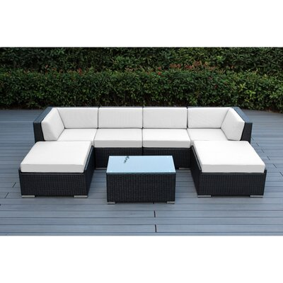 Kiara 7 Piece Deep Seating Group with Cushions Fabric: Sunbrella Natural, Finish: Black