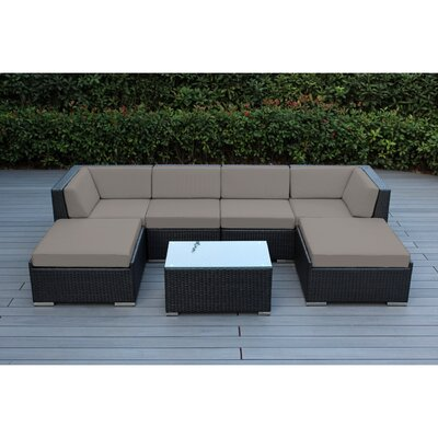 Kiara 7 Piece Deep Seating Group with Cushions Fabric: Sunbrella Taupe, Finish: Black