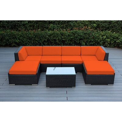 Kiara 7 Piece Deep Seating Group with Cushions Fabric: Sunbrella Tuscan, Finish: Black