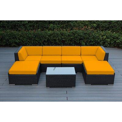 Kiara 7 Piece Deep Seating Group with Cushions Fabric: Sunbrella Sunflower Yellow, Finish: Black