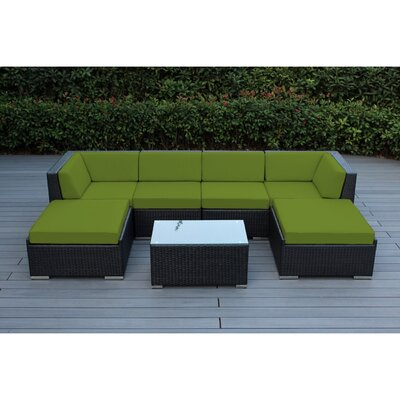 Kiara 7 Piece Deep Seating Group with Cushions Fabric: Sunbrella Jockey Red, Finish: Black
