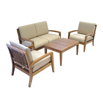 Ohana Teak 4 Piece Deep Seating Group with Cushion