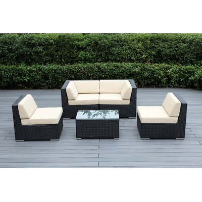 Lillian 5 Piece Deep Seating Group with Cushion Fabric: Beige, Finish: Black
