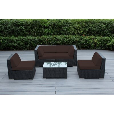 Lillian 5 Piece Deep Seating Group with Cushion Fabric: Brown, Finish: Black