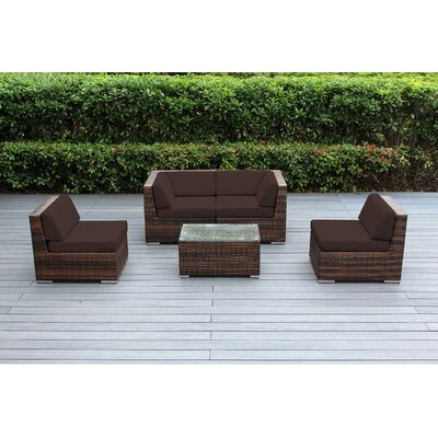 Lillian 5 Piece Deep Seating Group with Cushion Fabric: Sunbrella Bay Brown, Finish: Mixed Brown