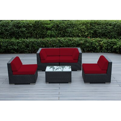Jasmin 5 Piece Deep Seating Group with Cushion Finish: Black, Fabric: Red