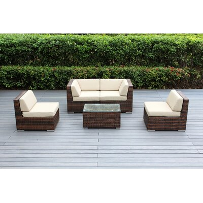 Lillian 5 Piece Deep Seating Group with Cushion Fabric: Beige, Finish: Mixed Brown