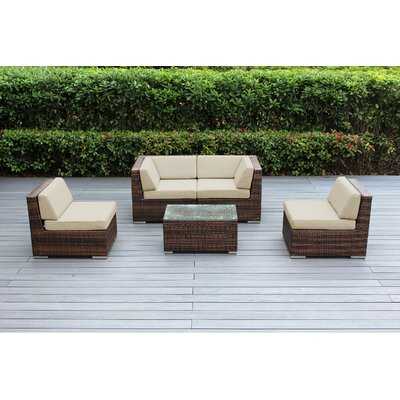 Lillian 5 Piece Deep Seating Group with Cushion Fabric: Sunbrella Antique Beige, Finish: Mixed Brown