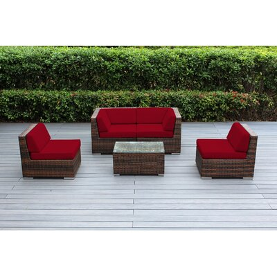 Lillian 5 Piece Deep Seating Group with Cushion Fabric: Sunbrella Jockey Red, Finish: Mixed Brown