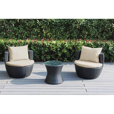 Ohana 3 Piece Deep Seating Group with Cushion Fabric: Blue Gray