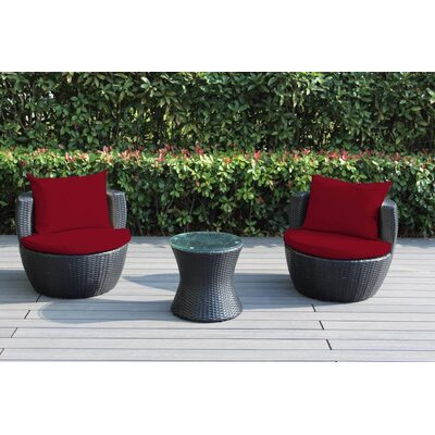 Ohana 3 Piece Deep Seating Group with Cushion Fabric: Red