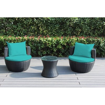 Ohana 3 Piece Deep Seating Group with Cushion Fabric: Turquoise