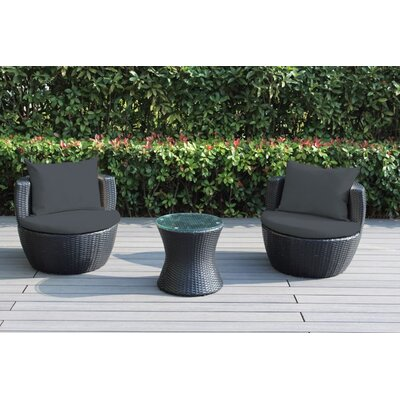 Ohana 3 Piece Deep Seating Group with Cushion Fabric: Dark Gray
