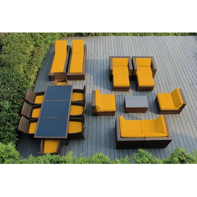 Ohana 20 Piece Seating Dining and Chaise Lounge Set with Cushions Fabric: Sunbrella Sunflower Yellow, Finish: Mixed Brown