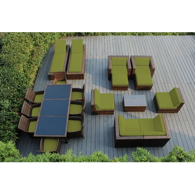 Ohana 20 Piece Seating Dining and Chaise Lounge Set with Cushions Fabric: Sunbrella Macaw, Finish: Mixed Brown
