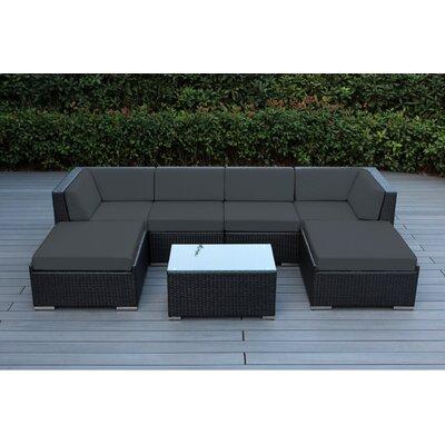 Kiara 7 Piece Deep Seating Group with Cushions Fabric: Dark Gray, Finish: Black