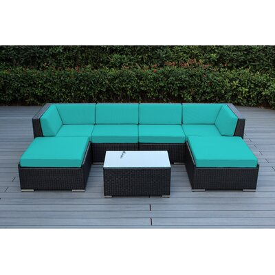 Kiara 7 Piece Deep Seating Group with Cushions Fabric: Turquoise, Finish: Black