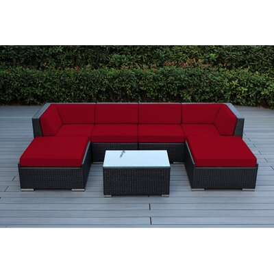 Kiara 7 Piece Deep Seating Group with Cushions Fabric: Red, Finish: Black