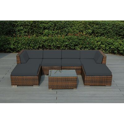 Kiara 7 Piece Deep Seating Group with Cushions Fabric: Dark Gray, Finish: Mixed Brown