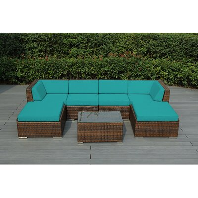 Kiara 7 Piece Deep Seating Group with Cushions Fabric: Turquoise, Finish: Mixed Brown
