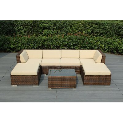 Kiara 7 Piece Deep Seating Group with Cushions Fabric: Beige, Finish: Mixed Brown