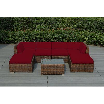Kiara 7 Piece Deep Seating Group with Cushions Fabric: Red, Finish: Mixed Brown
