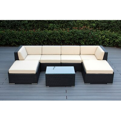 Kiara 7 Piece Deep Seating Group with Cushions Fabric: Beige, Finish: Black
