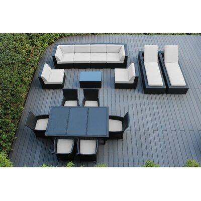 Ohana 16 Piece Seating Dining and Chaise Lounge Set Fabric: Sunbrella Natural, Finish: Black