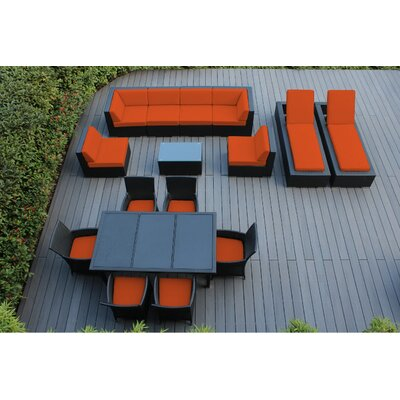 Ohana 16 Piece Seating Dining and Chaise Lounge Set Fabric: Sunbrella Tuscan, Finish: Black