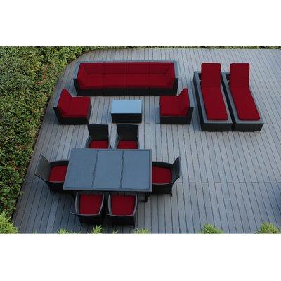 Ohana 16 Piece Seating Dining and Chaise Lounge Set Fabric: Sunbrella Jockey Red, Finish: Black