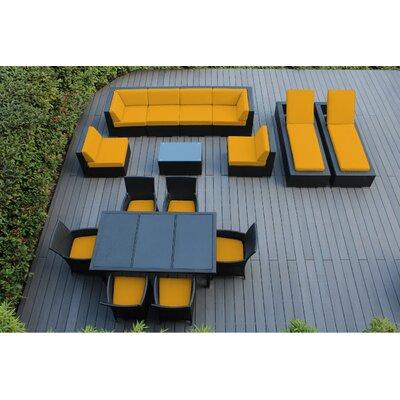 Ohana 16 Piece Seating Dining and Chaise Lounge Set Fabric: Sunbrella Sunflower Yellow, Finish: Black