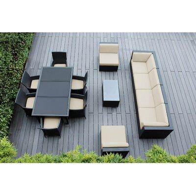 Ohana 14 Piece Sofa and Dining Set Fabric: Sunbrella Antique Beige, Finish: Black