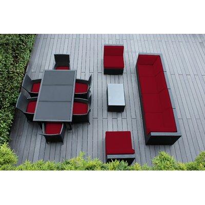 Ohana 14 Piece Sofa and Dining Set Fabric: Sunbrella Jockey Red, Finish: Black