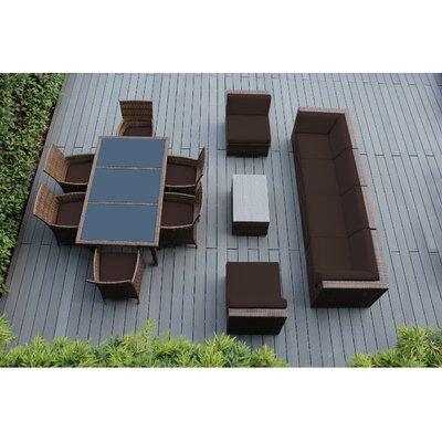 Ohana 14 Piece Sofa and Dining Set Fabric: Sunbrella Bay Brown, Finish: Mixed Brown