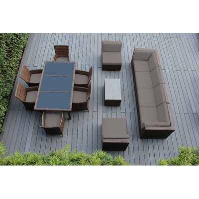 Ohana 14 Piece Sofa and Dining Set Fabric: Sunbrella Taupe, Finish: Mixed Brown
