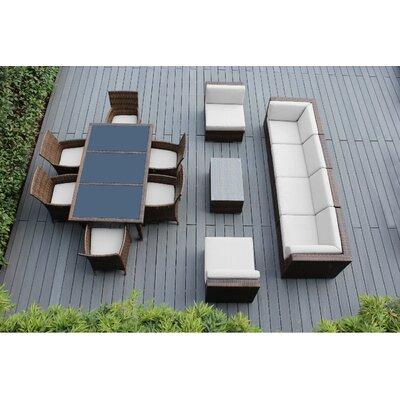 Ohana 14 Piece Sofa and Dining Set Fabric: Sunbrella Natural, Finish: Mixed Brown