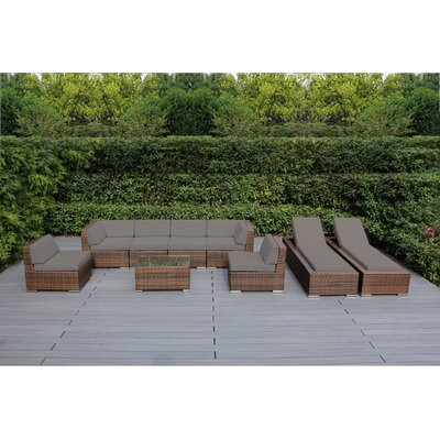 Ohana 9 Piece Seating Set with Chaise Lounges Fabric: Sunbrella Taupe, Finish: Mixed Brown
