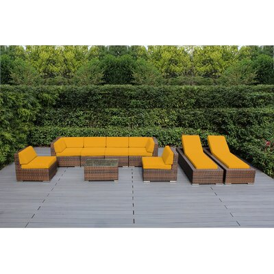 Ohana 9 Piece Seating Set with Chaise Lounges Fabric: Sunbrella Sunflower Yellow, Finish: Mixed Brown