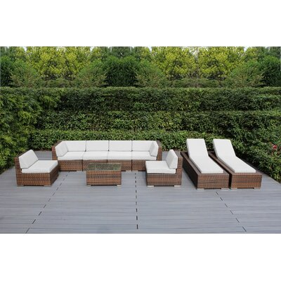 Ohana 9 Piece Seating Set with Chaise Lounges Fabric: Sunbrella Natural, Finish: Mixed Brown